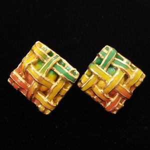VTG 80s Retro Lacombe Paper Mache Clip Earrings